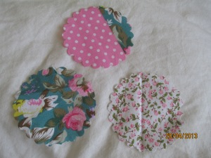 Circles cut from free gift material