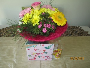 Get Well card and flowers from work