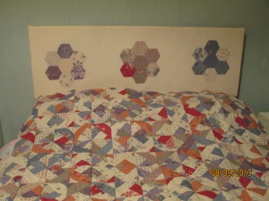 Patchwork quilt and matching headboard